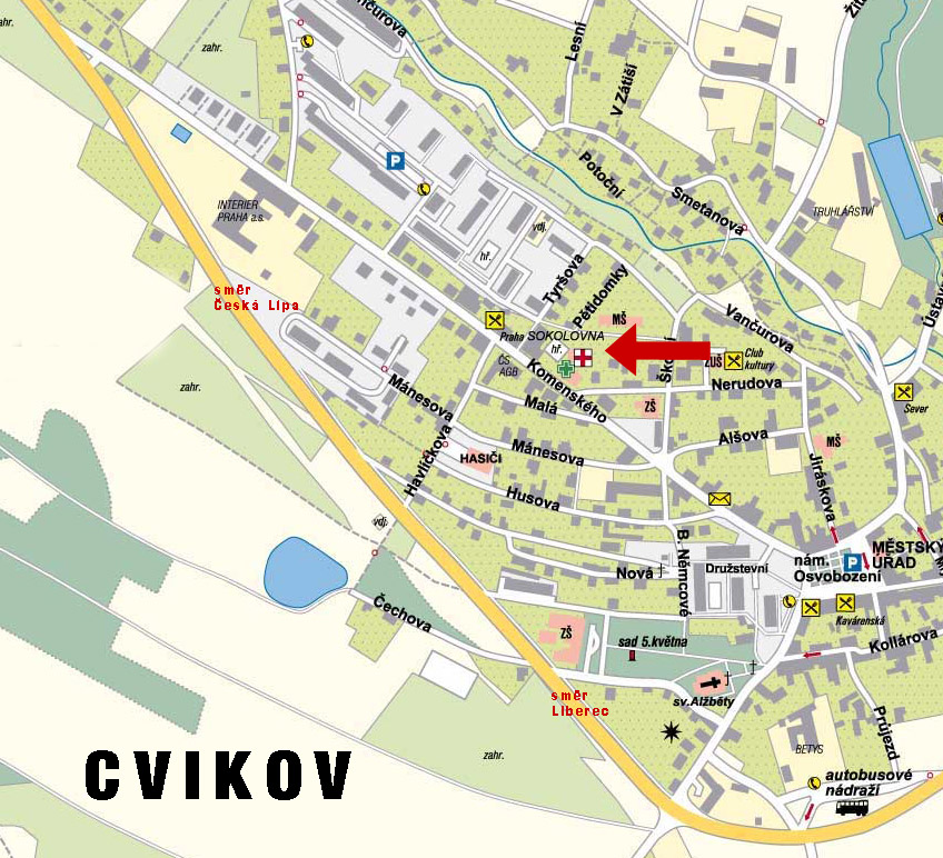 Map of the center of Cvikov